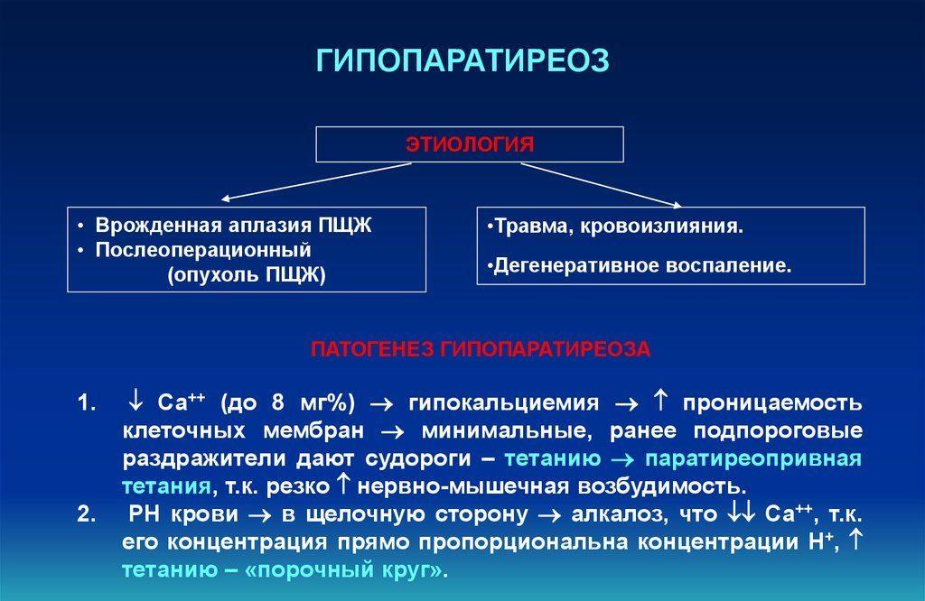 паращитовидные железы гипофункция и гиперфункция